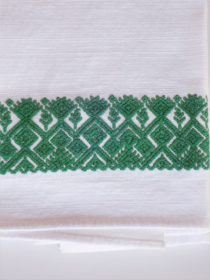 MEXICAN TEXTILES / Green handwoven hand towel